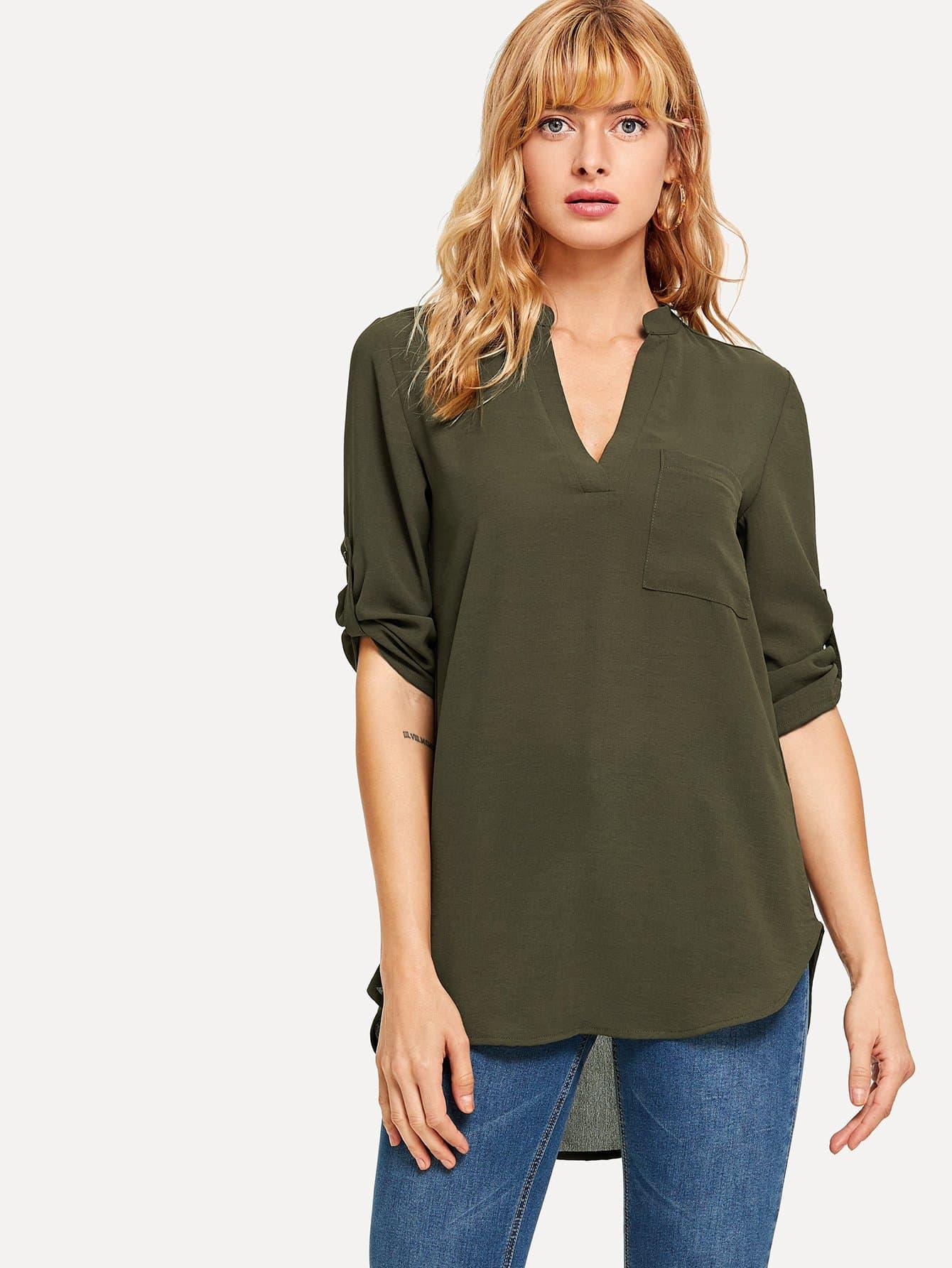 Купить Рубашка с рольными рукавами и Dip подол, Masha, SheIn