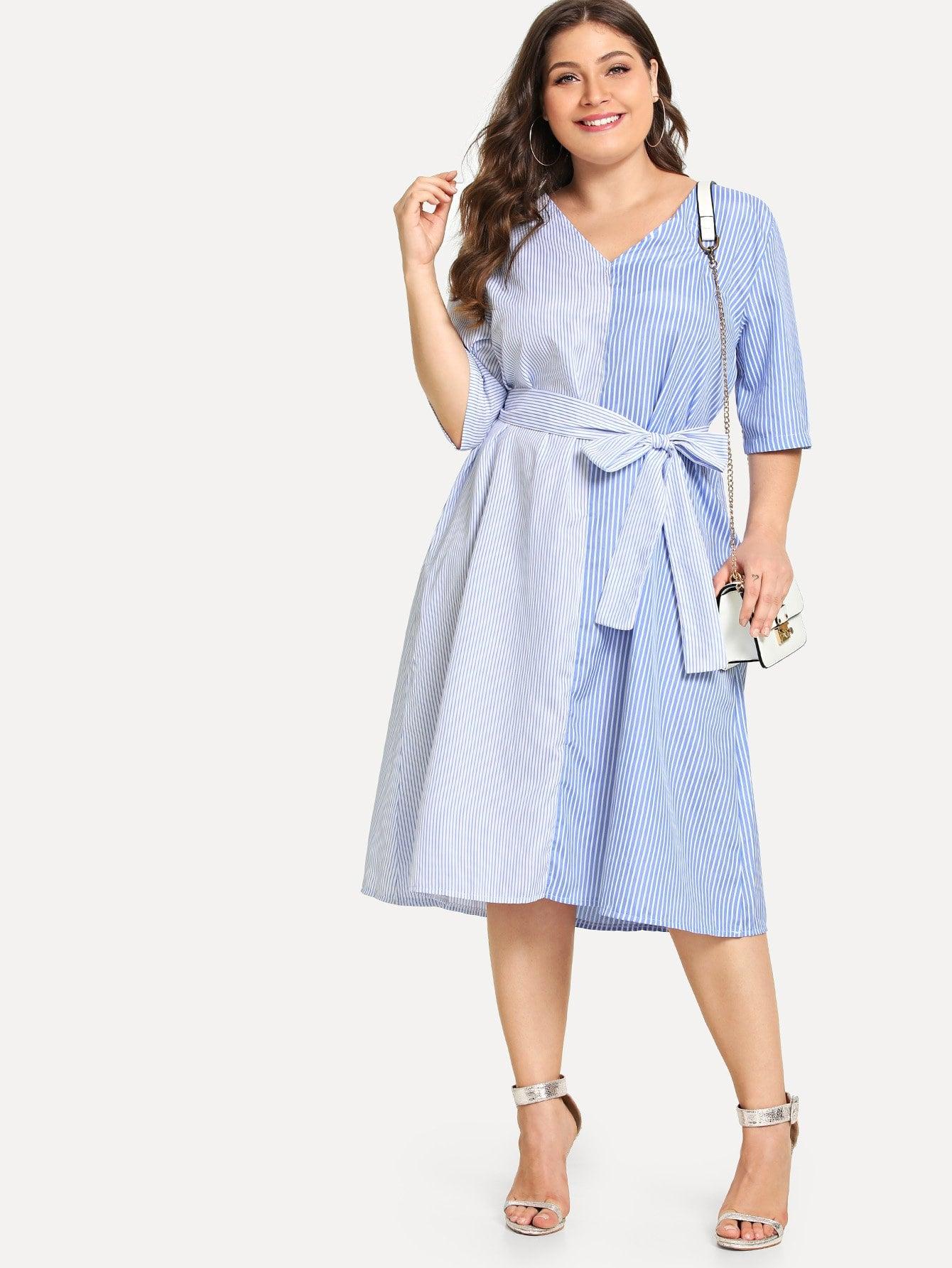 Купить Большое платье со симметрическими полосами и с поясом, Carol, SheIn