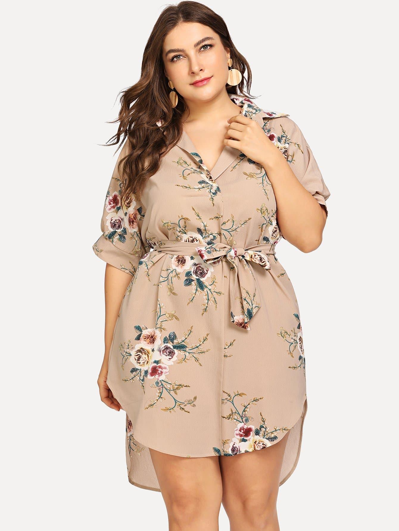 Купить Большое ситцевое платье с поясом и рольный подол, Franziska, SheIn