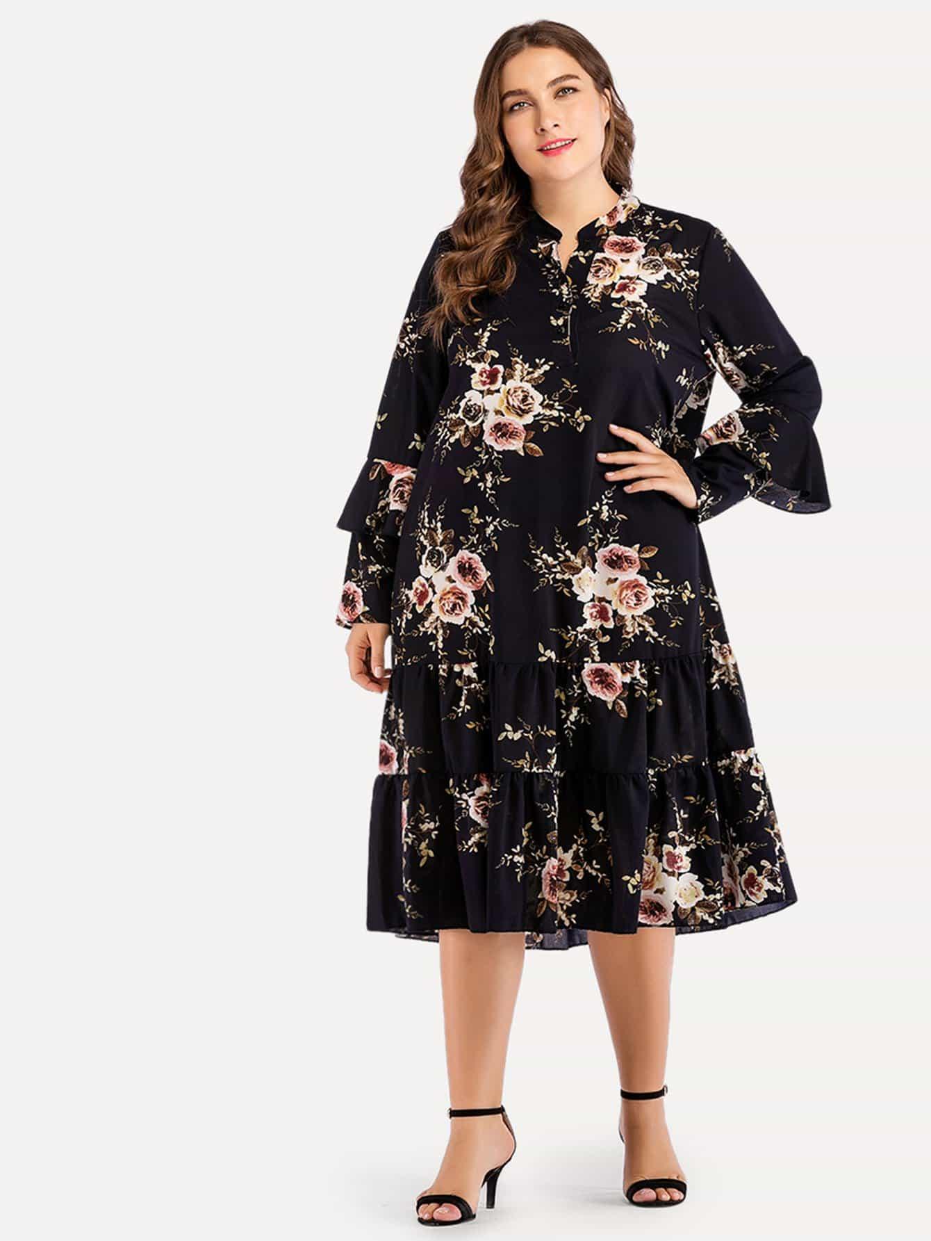 Купить Большое ситцевое платье и подол с розеткой, Franziska, SheIn