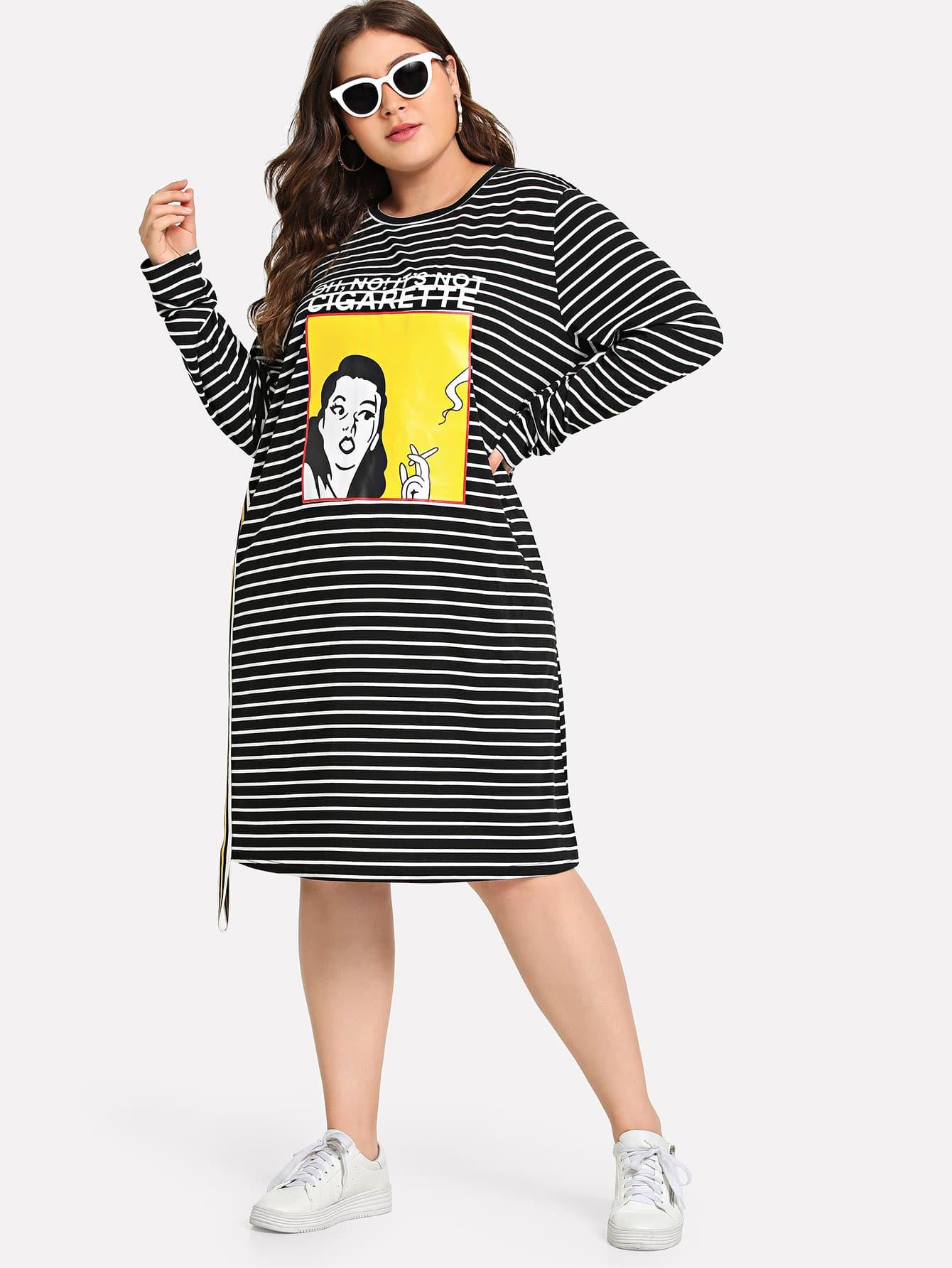 Купить Большое полосатое платье с рисунками цифры, Carol, SheIn