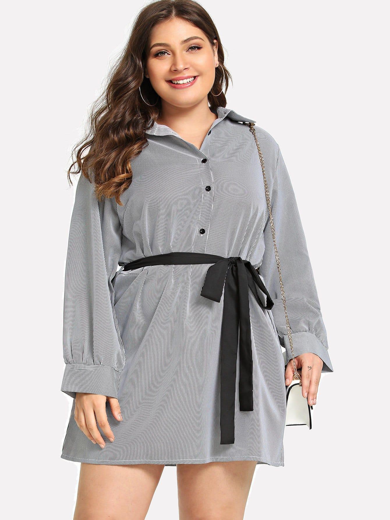 Купить Большое платье рубашки с поясом, Carol, SheIn