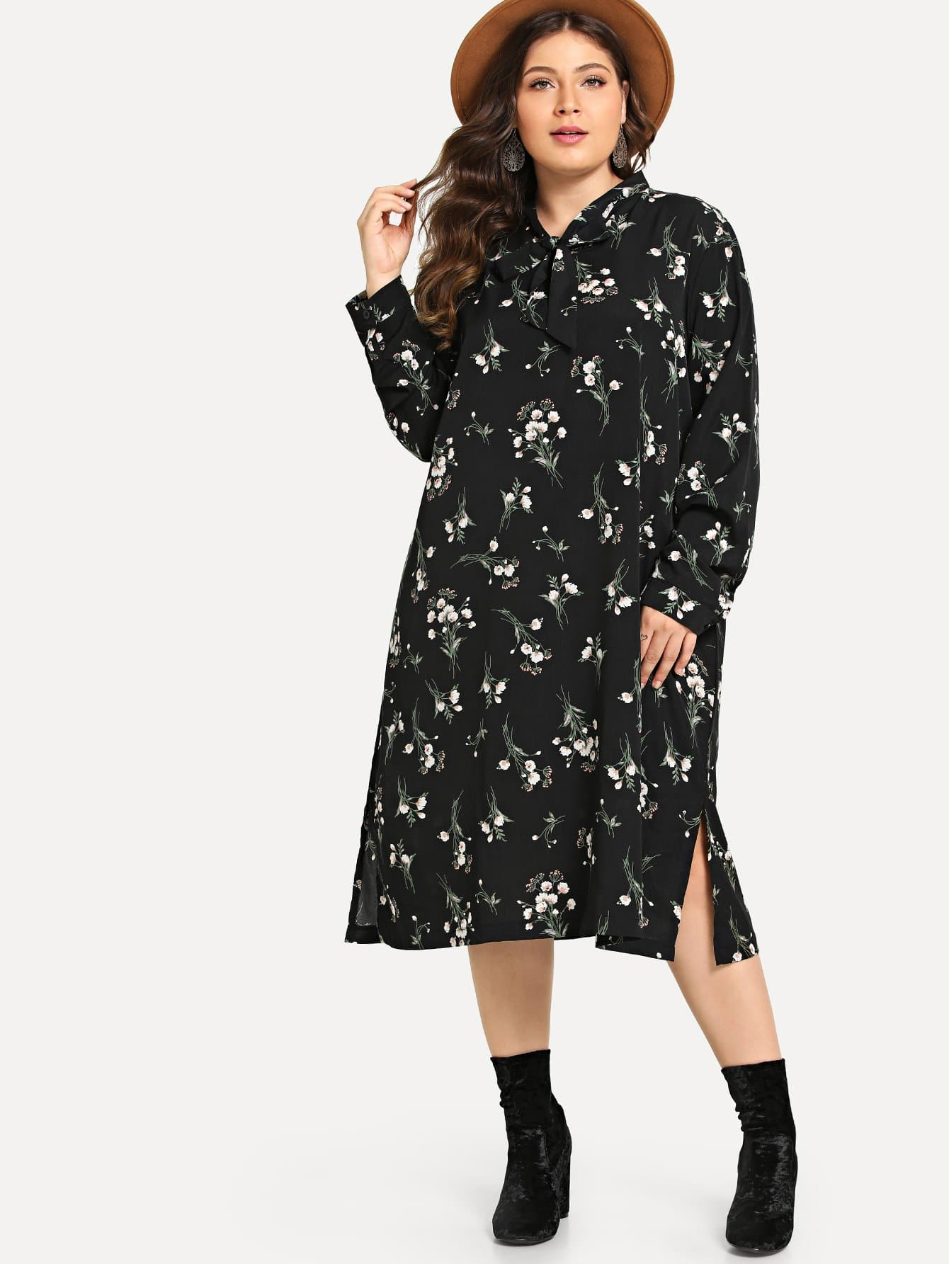 Plus Calico Print Split Hem Dress