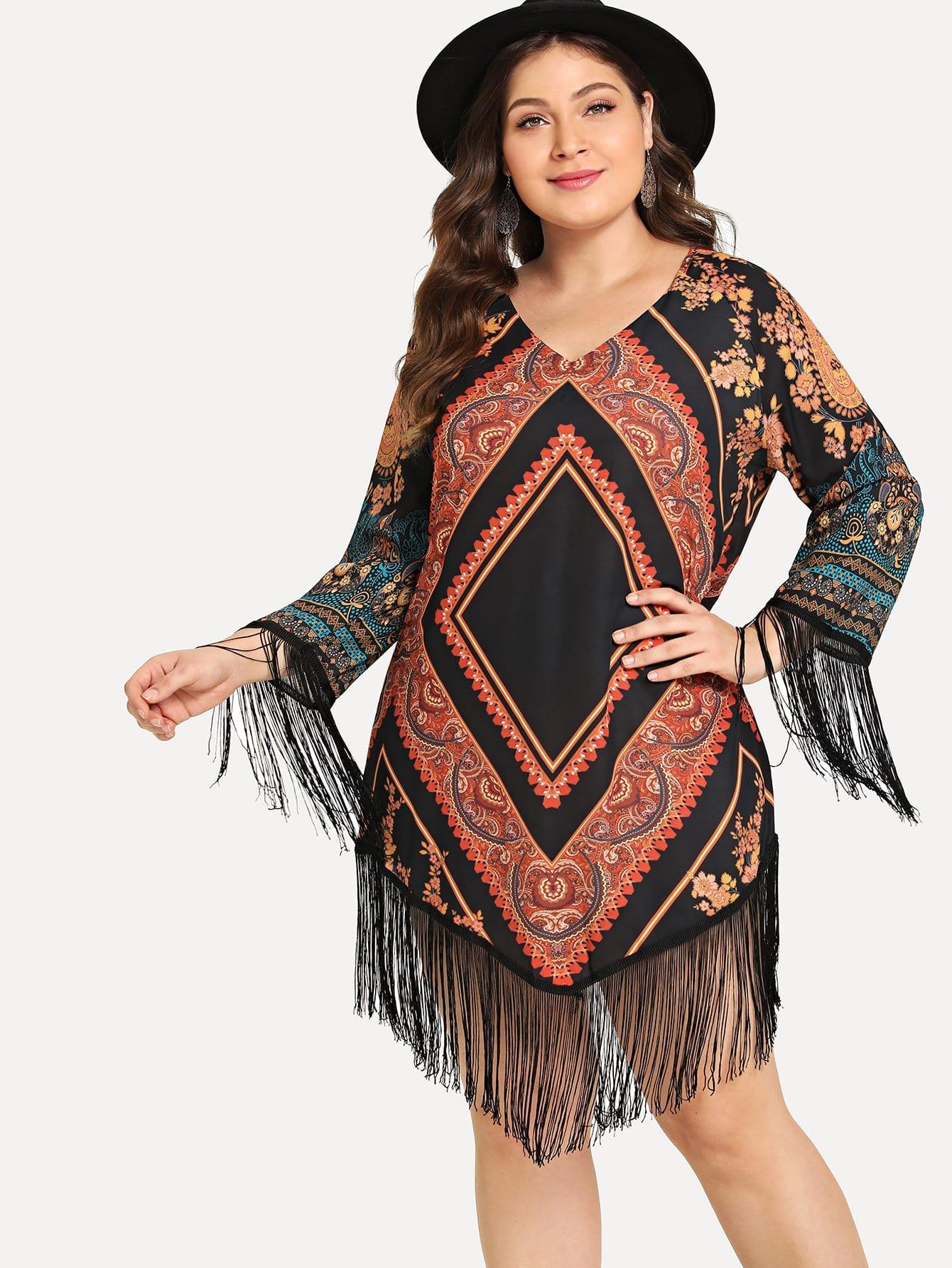 Plus Tribal Print Fringe Hem Dress