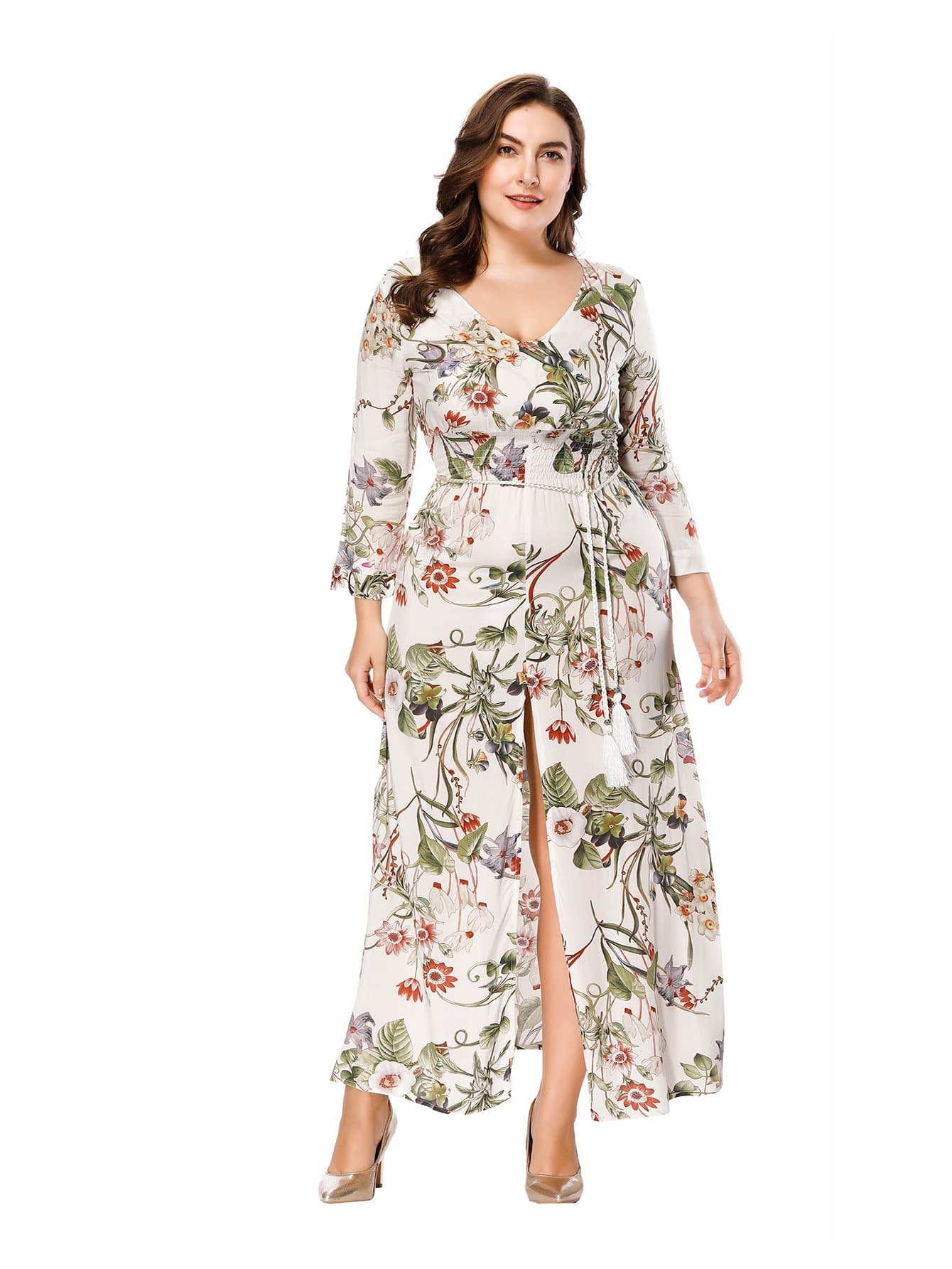 Plus Floral Print Split Hem Dress