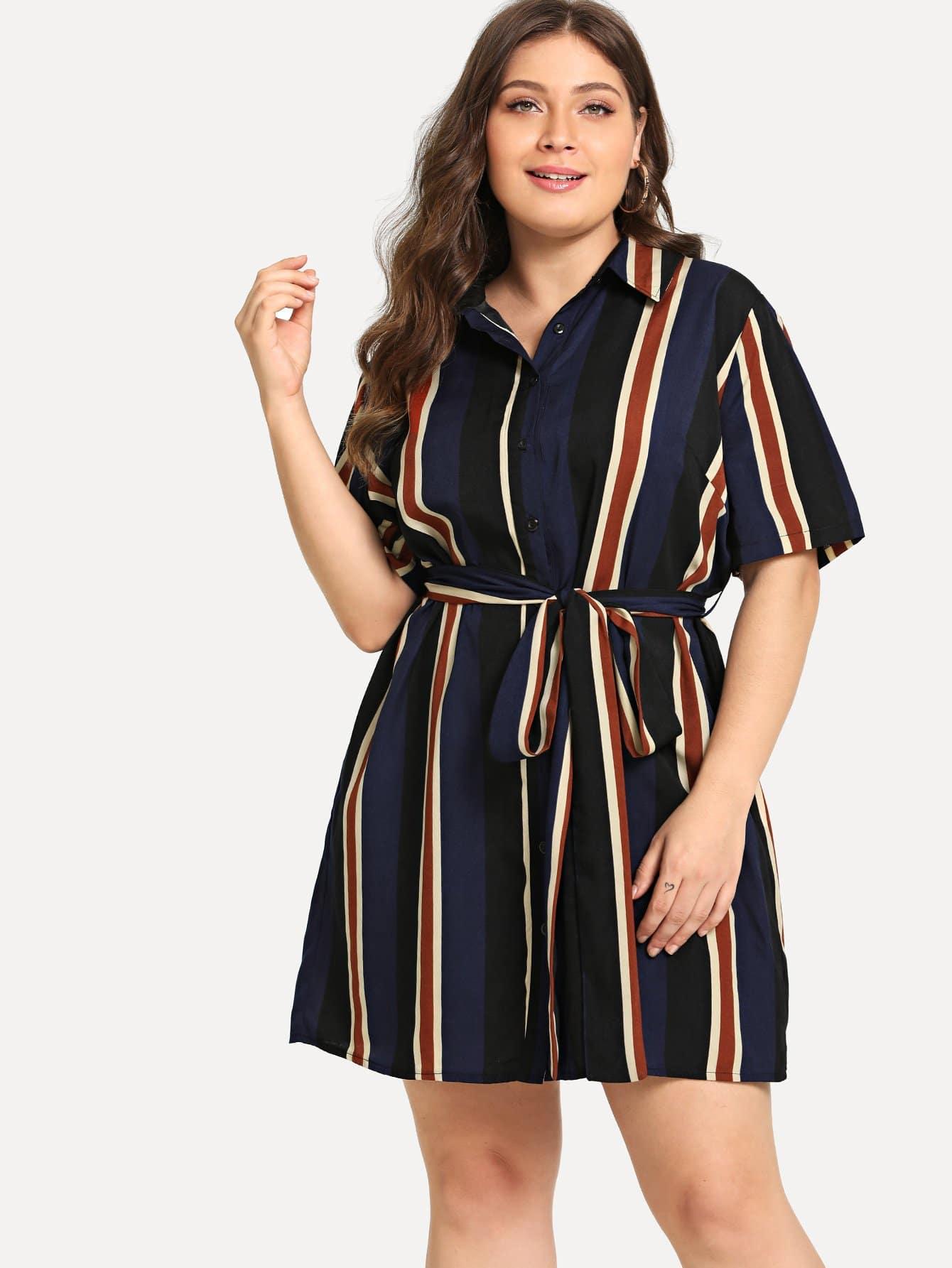 Купить Большое полосатое платье рубашки и с поясом, Carol, SheIn
