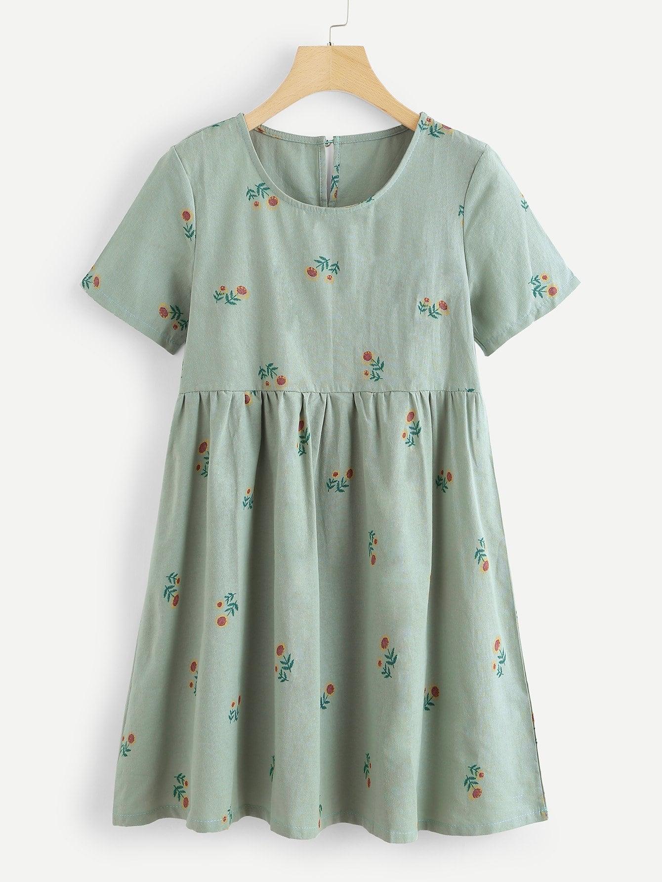 Купить Ситцевое платье с замочной скважиной сзади одежды, null, SheIn