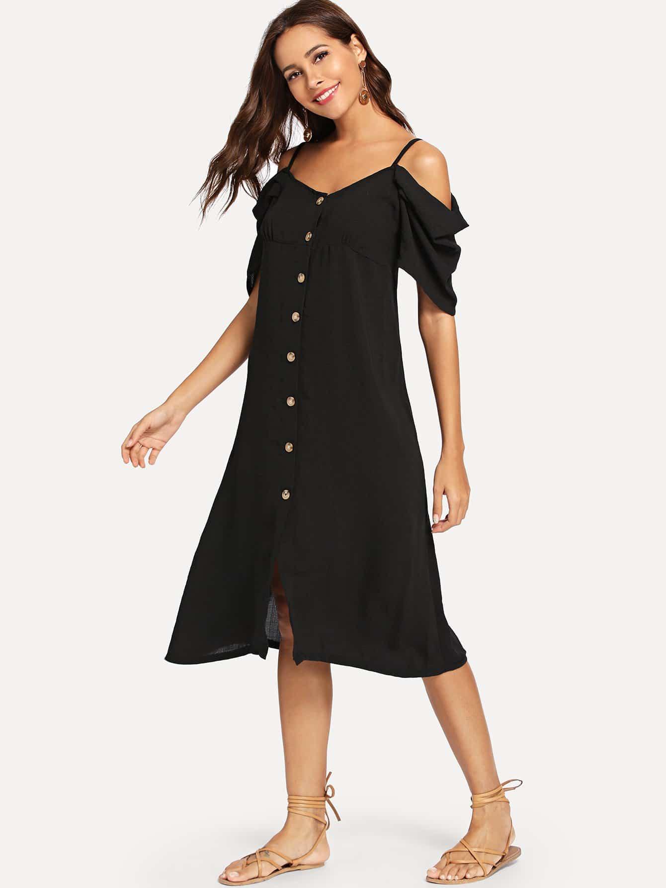 Купить Однобортное платье без бретелек, Giulia, SheIn