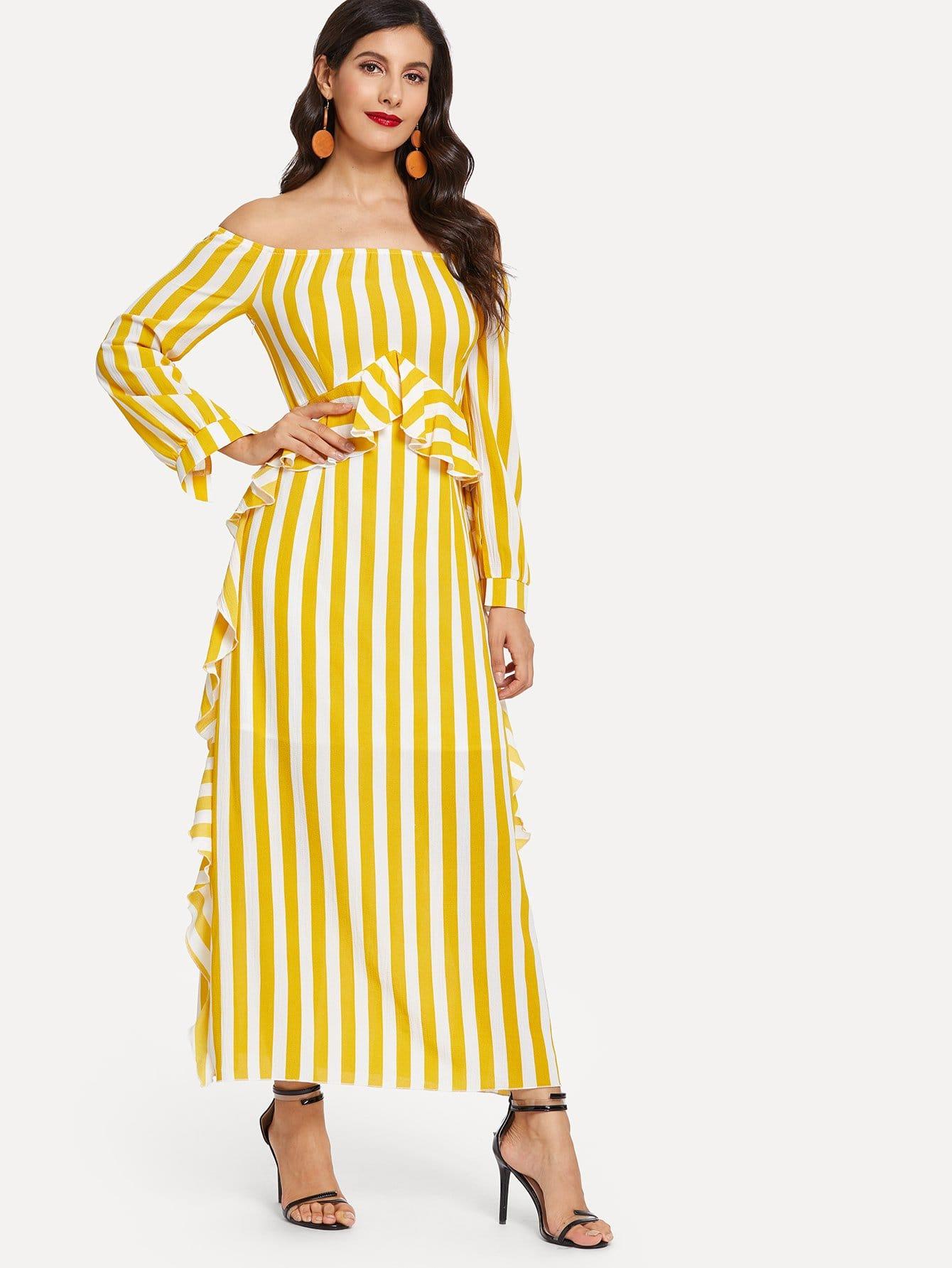 Купить Полосатое платье без бретелек и с кружевными оборками, Jeane, SheIn