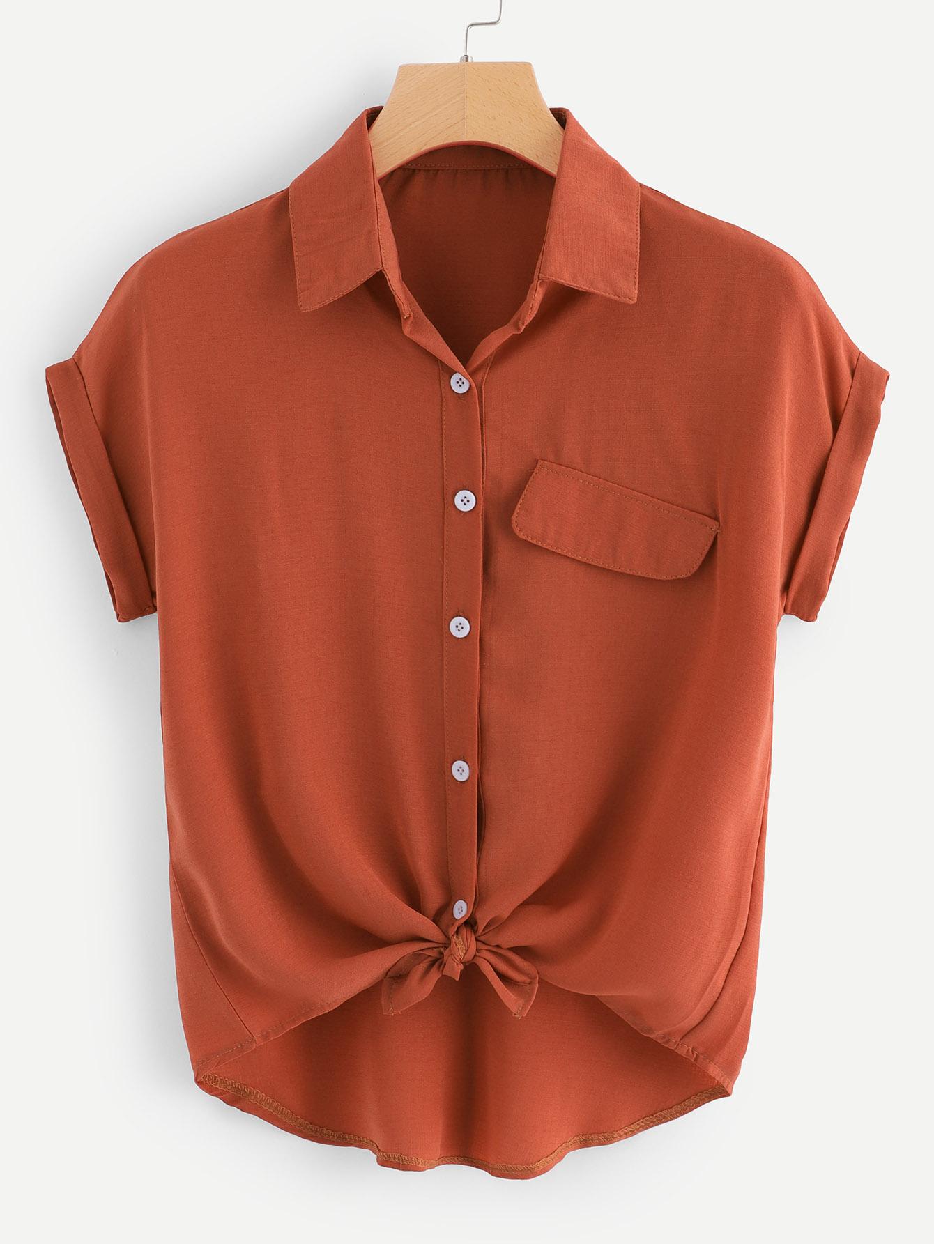 Купить Повседневный Одноцветный Пуговица Желтовато бурый Блузы+рубашки, null, SheIn