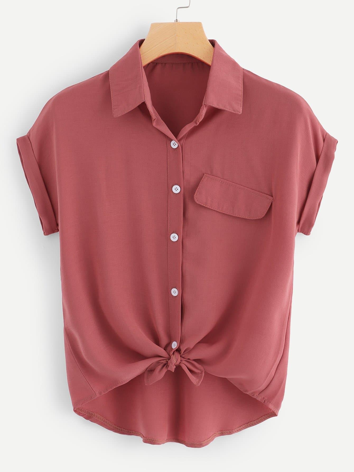 Купить Повседневный Одноцветный Пуговица Ржаво-коричневый Блузы+рубашки, null, SheIn