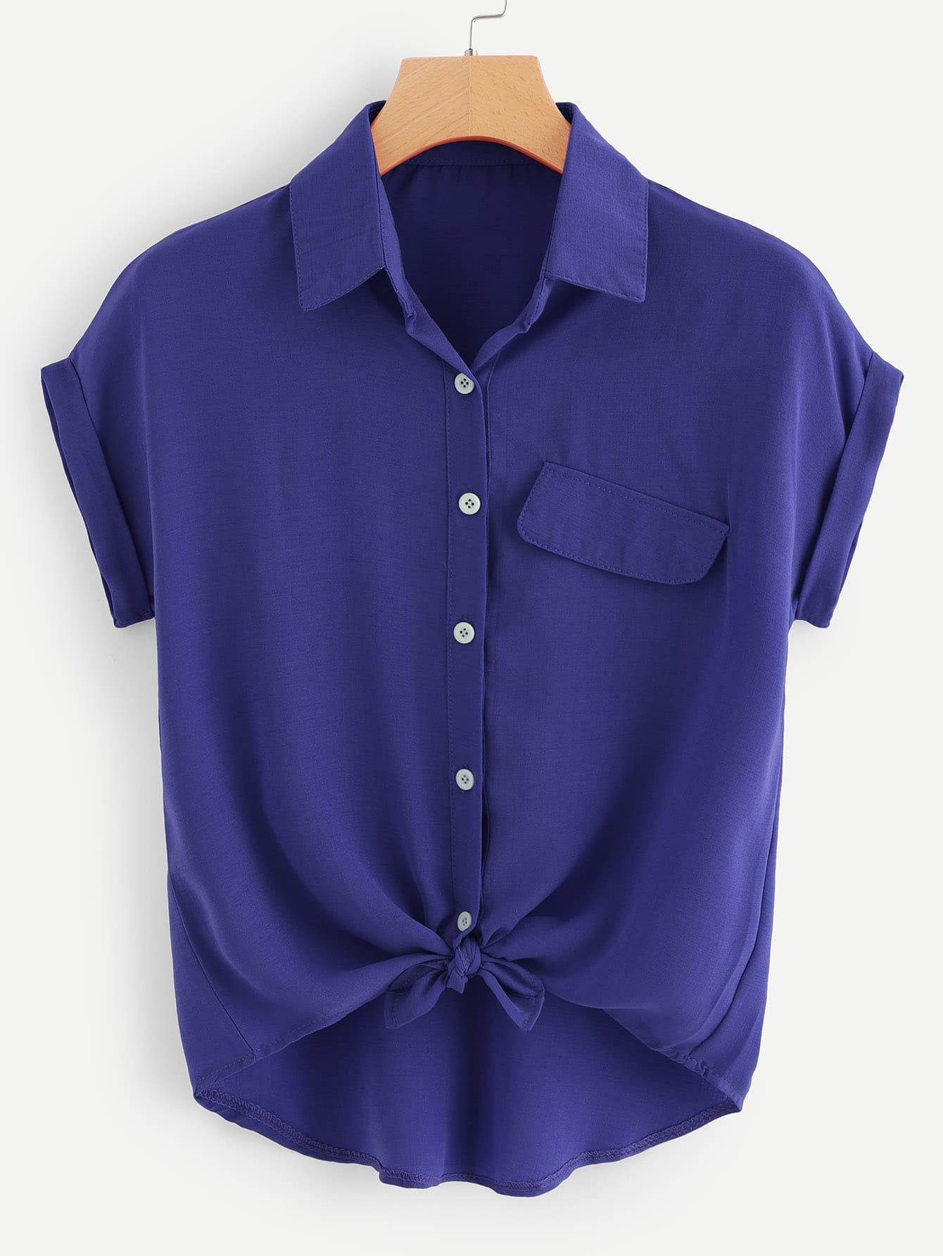 Купить Повседневный Одноцветный Пуговица Синий Блузы+рубашки, null, SheIn