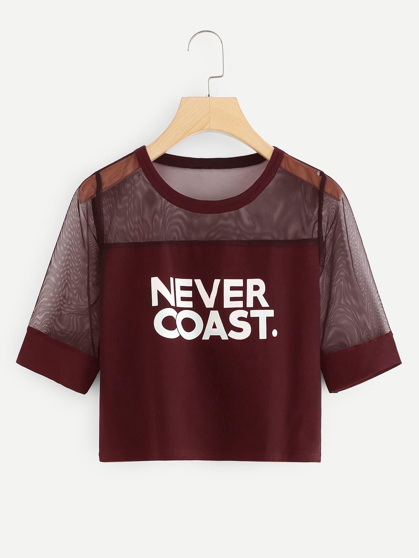 Купить Перспективная сетчатая футболка с рисунками букв, null, SheIn