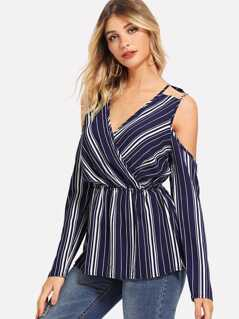 Surplice Neck Cold Shoulder Striped Top
