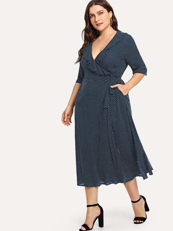 374ef2211d2 Plus Polka Dot Print Ruffle Wrap Dress