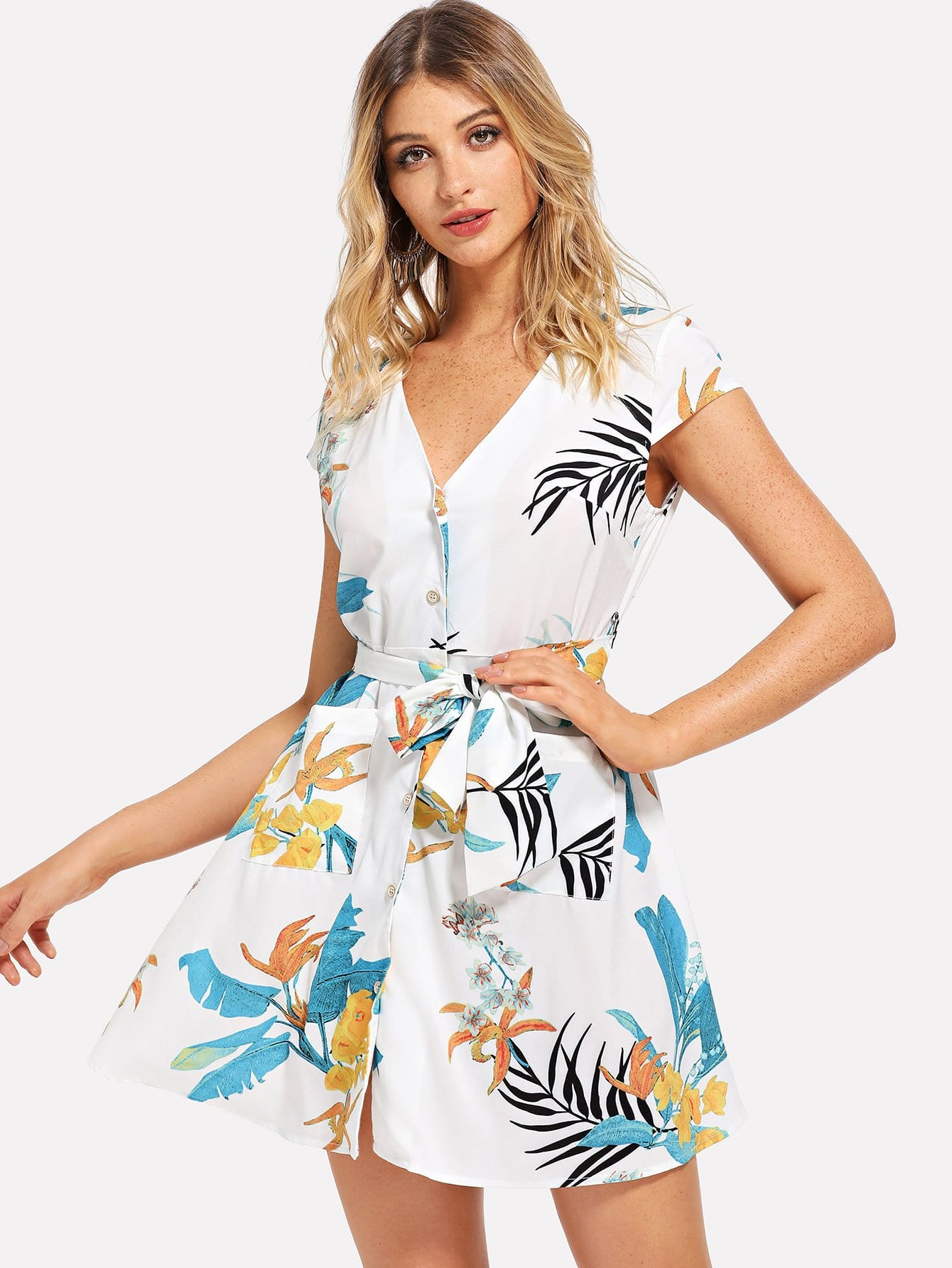 Купить V Neck Tropical Print Dress, Nathane, SheIn