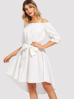 Open Shoulder Frilled Shirred Dress