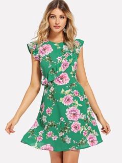Keyhole Back Ruffle Detail Floral Dress