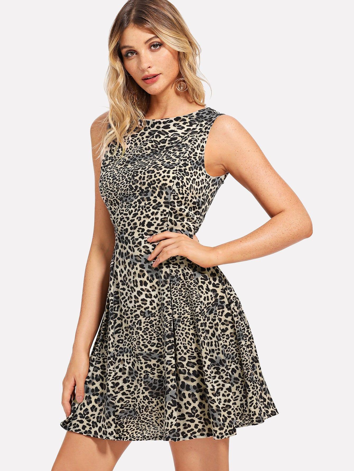 Купить Плиссированное леопардовое платье, Nathane, SheIn