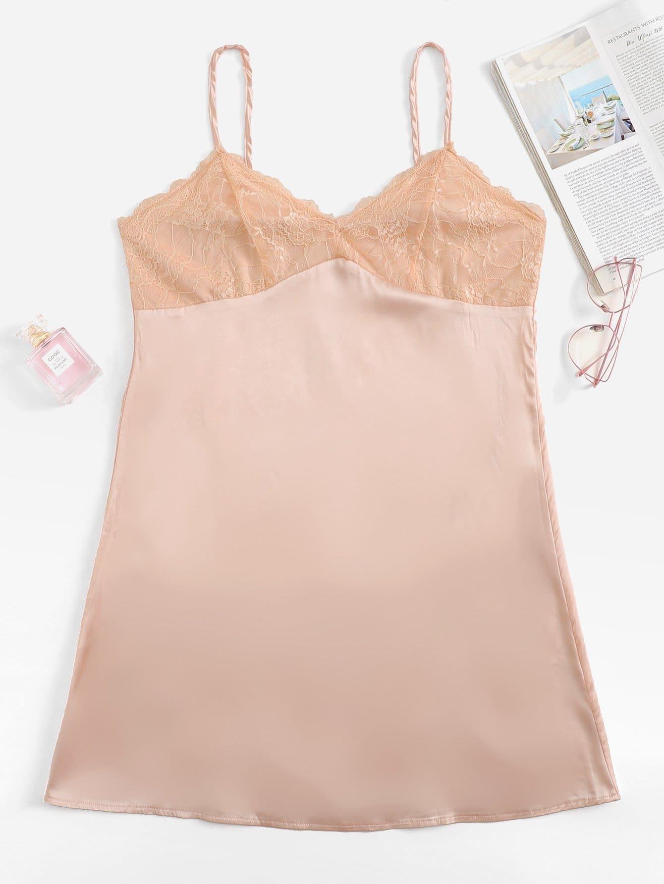 Купить Кружевное контрастное платье Ками, null, SheIn