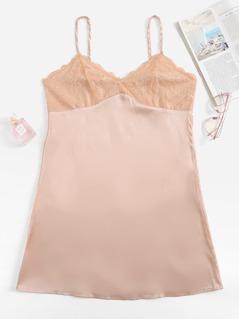 Lace Contrast Cami Dress