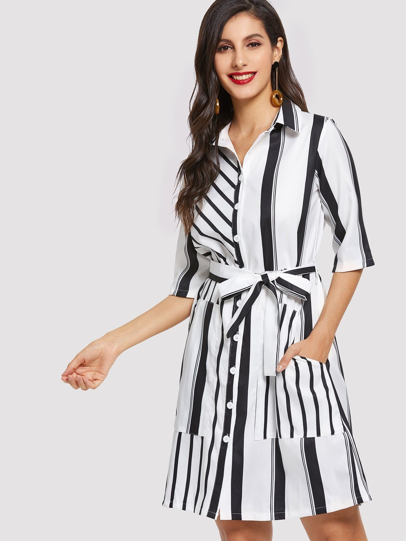 Купить Кнопка и карманное переднее полосатое полосатое платье, Jeane, SheIn
