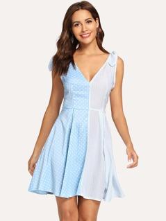 Shoulder Knot Polka Dot Striped Dress