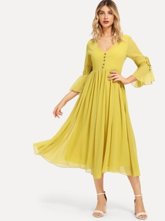 Button Up Knot Bell Sleeve Solid Dress