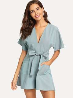 Pocket Patched V Neck Belted Romper