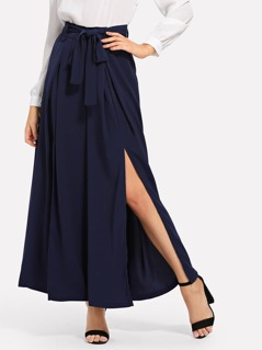Split Palazzo Pants with Belt