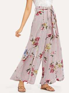 Split Striped & Floral Palazzo Pants with Belt