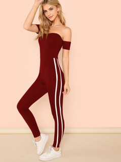 Off Shoulder Contrast Binding Side Fitted Jumpsuit