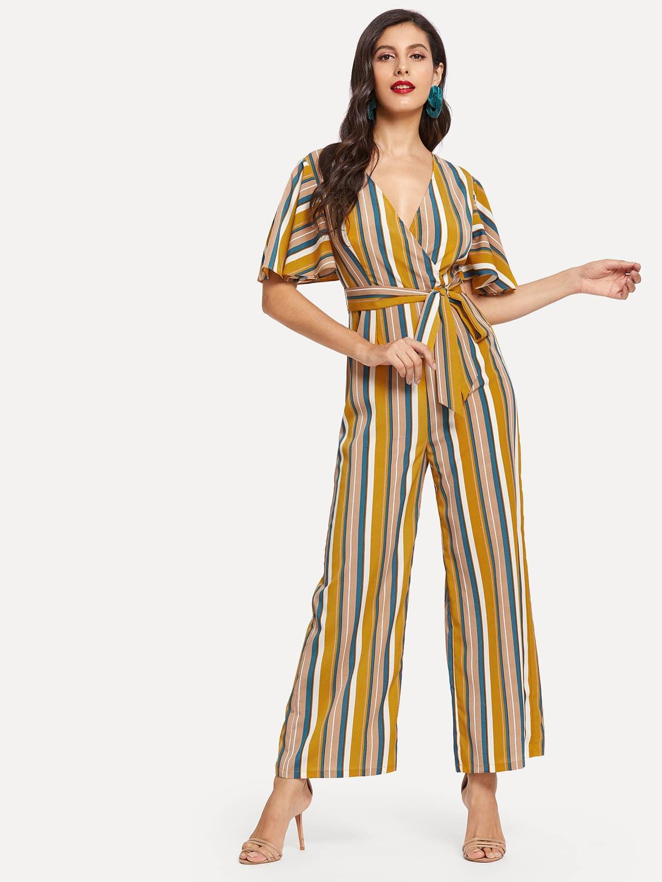 Купить Полосатый широкие брюки комбинезон рукав оборками, Jeane, SheIn