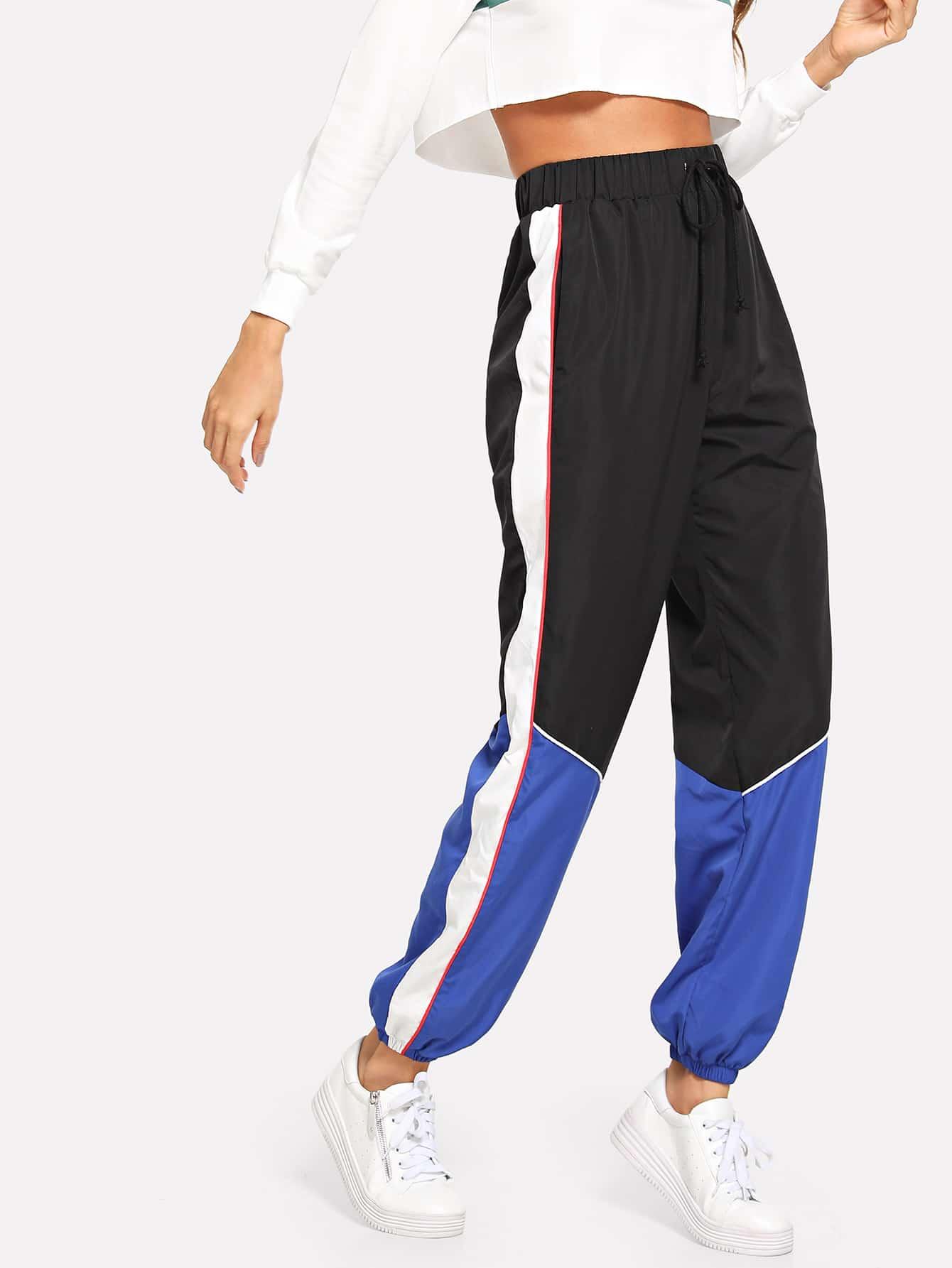Купить Цветный кусковой брюки с завязкой бечевкой на поясе, Andy, SheIn