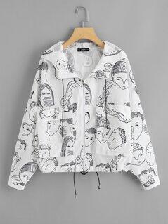 Figure Print Zip Up Hoodie Jacket