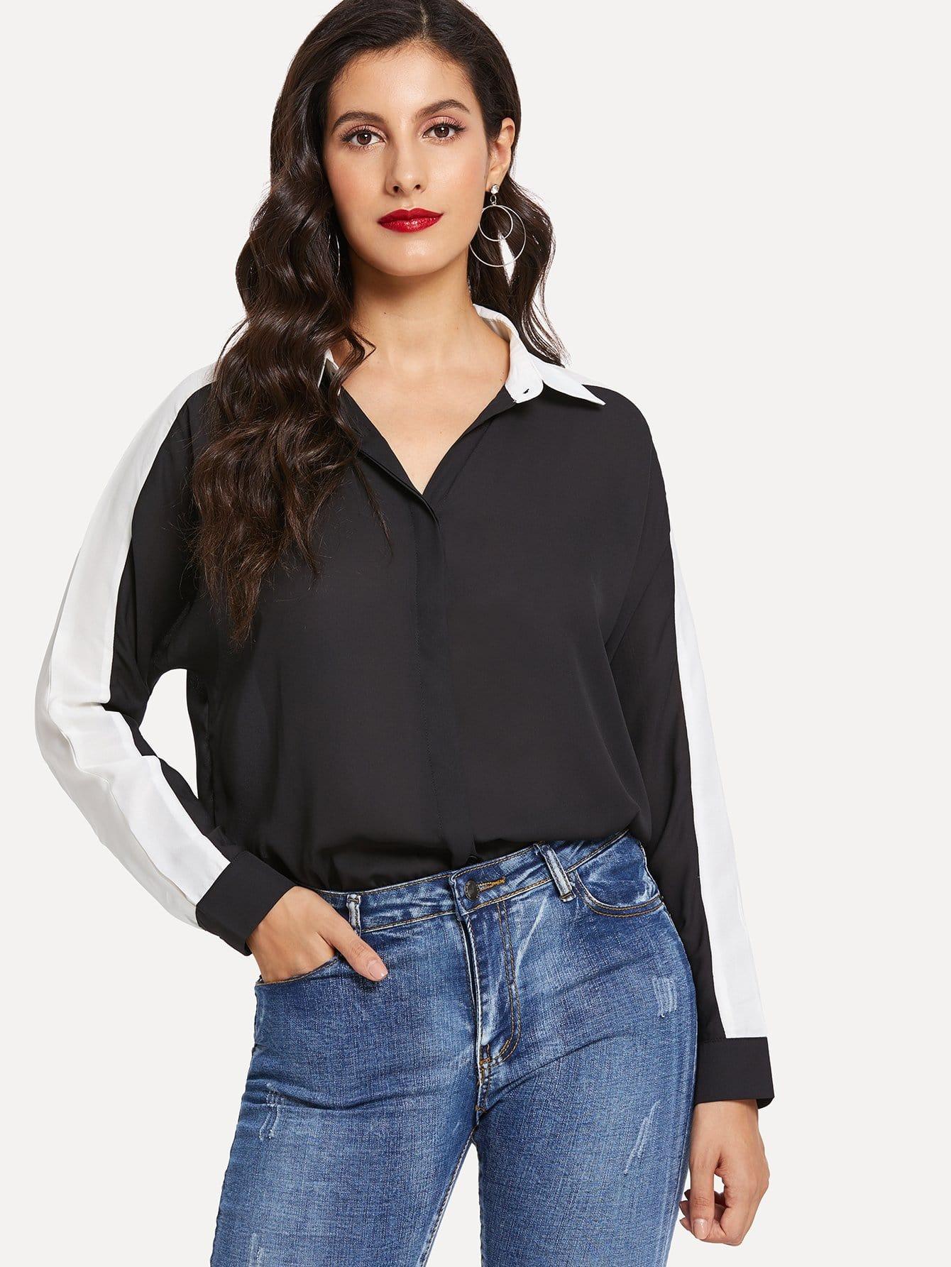 Купить Цветная кусковая рубашка с украшением пуговицы перед одежды, Jeane, SheIn