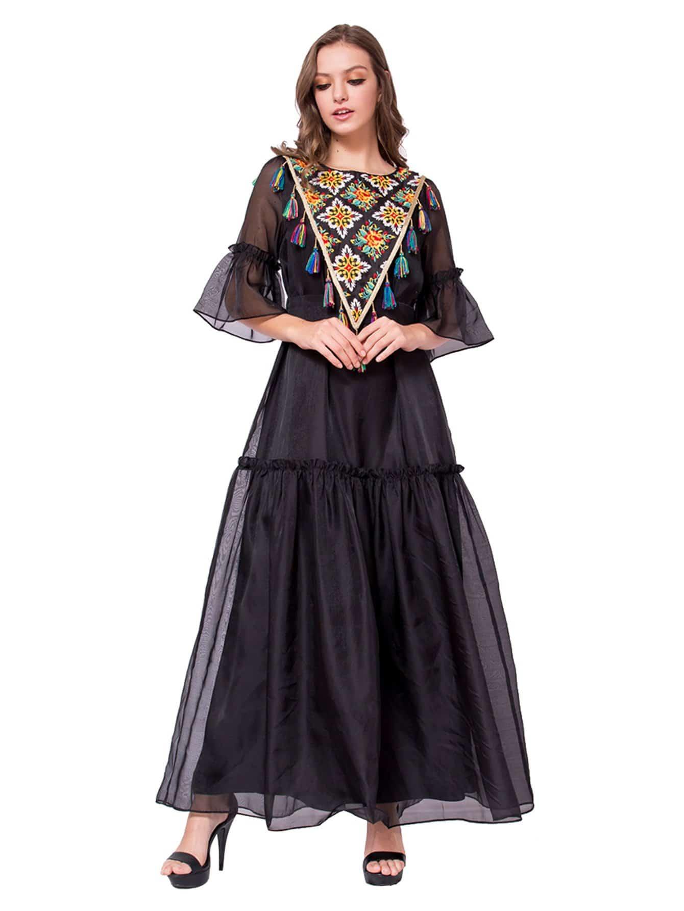 Chiffon Tassel Detail Flounce Sleeve Dress