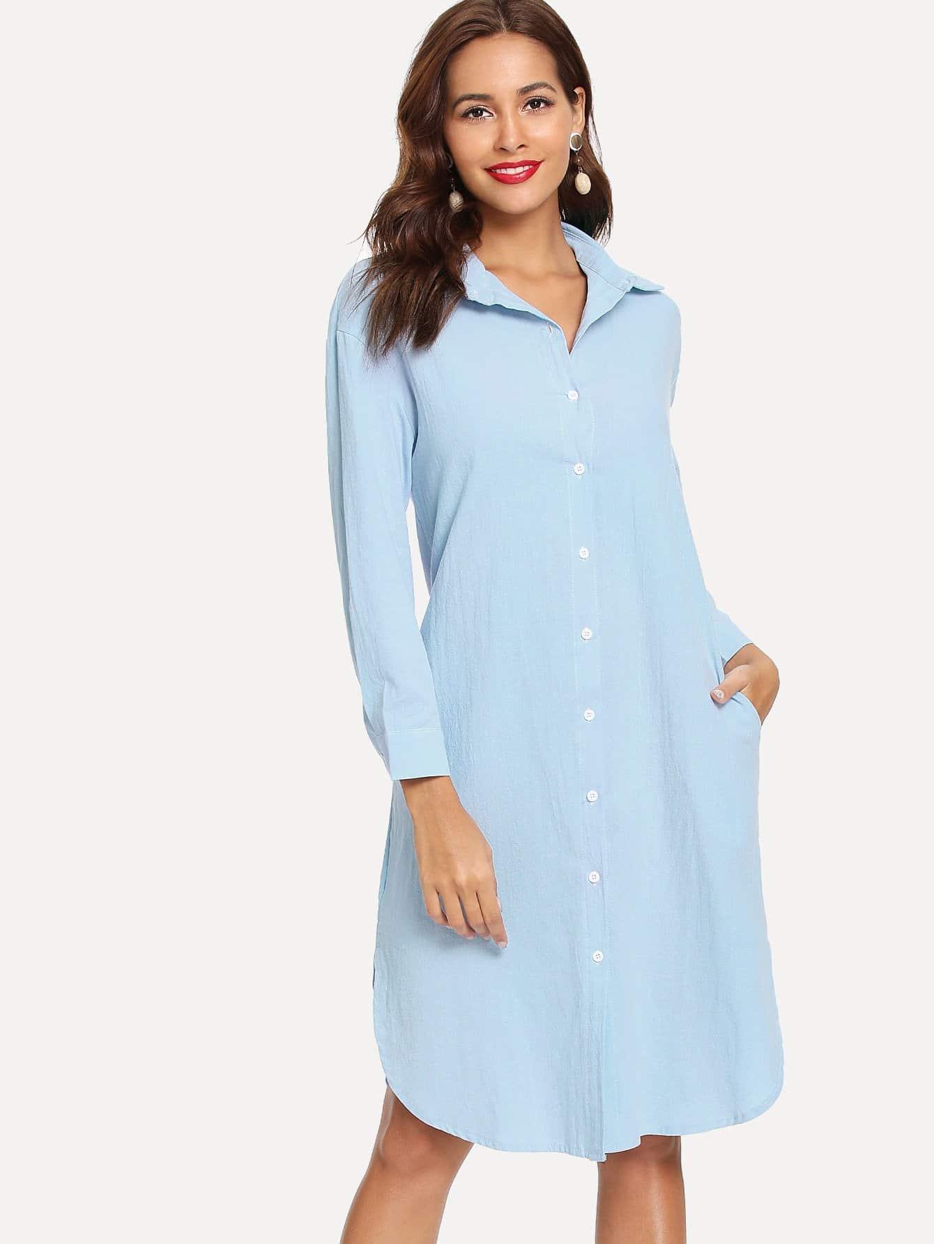 Купить Простое платье и с украшением пуговицы перед одежды, Giulia, SheIn