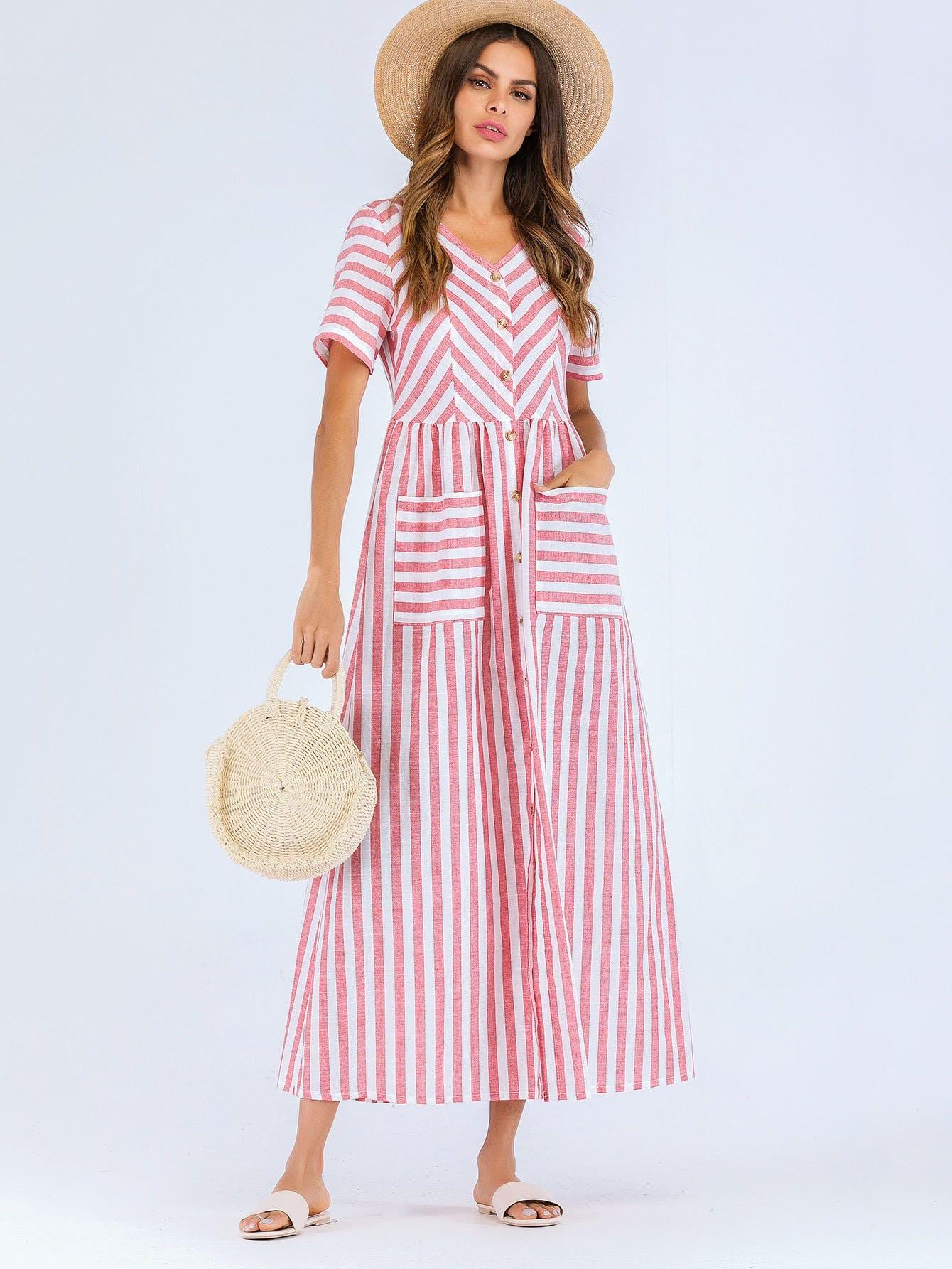 Купить Полосатое платье с украшением пуговицы перед одежды и кармана, null, SheIn
