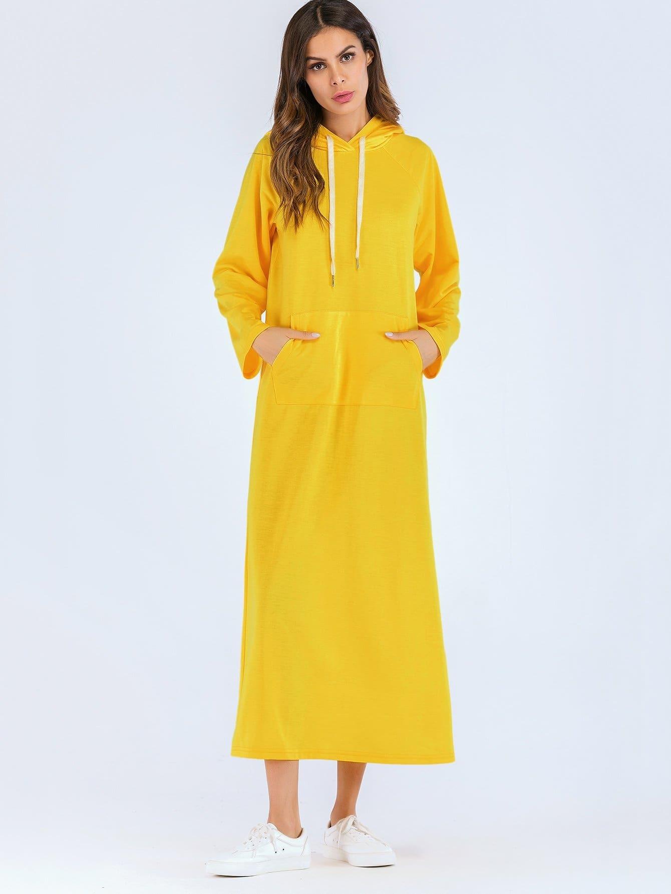 Купить Простое длинное платье с капюшоном и с карманом перед одежды, null, SheIn