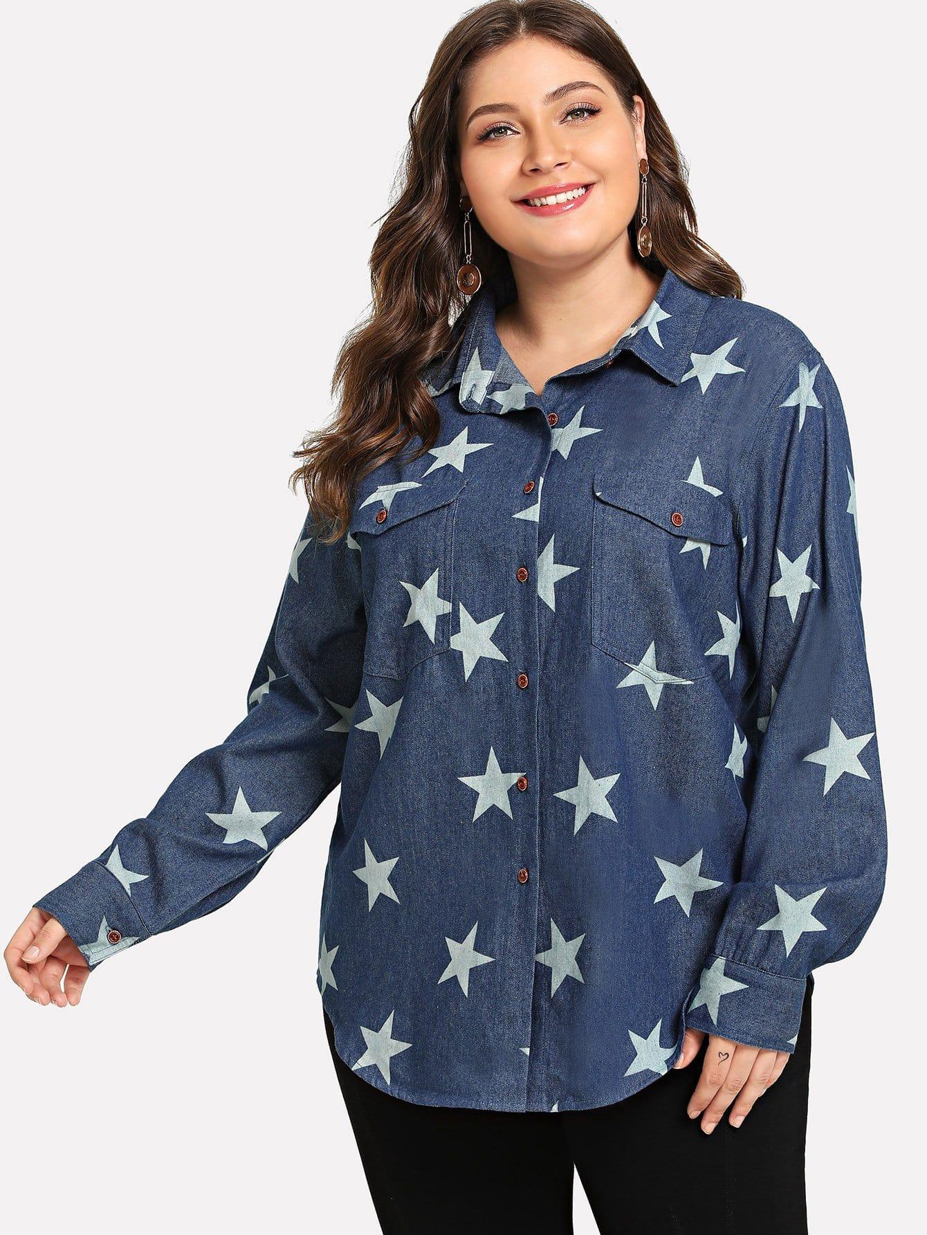 Купить Плюс размеры звезда печати Джинсовые рубашки, Carol, SheIn