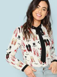 Graphic Print Tie Neck Blouse