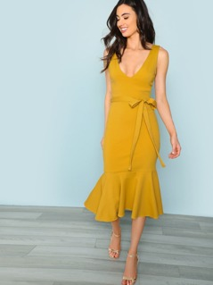 V-Neck Sleeveless Flounce Hem Dress
