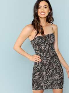 Sleeveless Bodycon Snake Print Dress