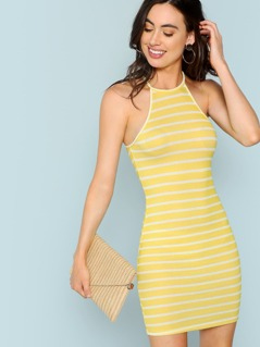 Striped Rib Knit Dress