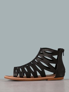 Faux Leather Caged Cutout Sandals