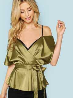Off The Shoulder Peplum Waist Top