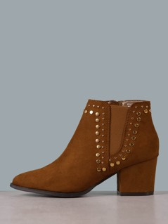 Faux Suede Studded Chelsea Boots