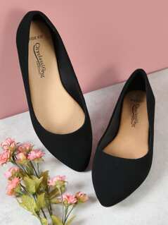 Wide Fit Pointed Toe Ballet Flats