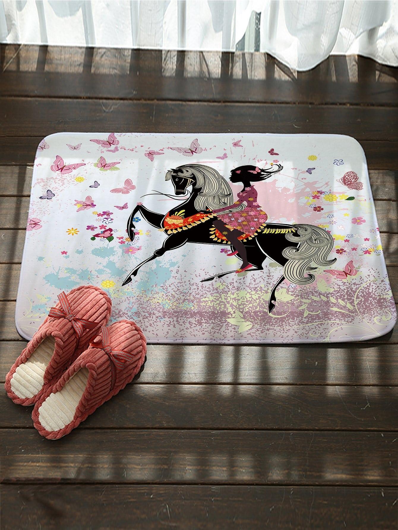 Купить Придверный коврик с рисунками лошадя и девушки, null, SheIn